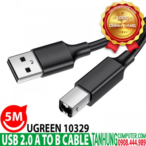 Cáp USB máy in Ugreen 10329 dài 5m USB 2.0 A Male to B Male cable
