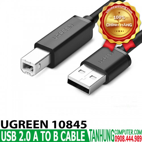 Cáp USB máy in Ugreen 10845 dài 1.5m USB 2.0 A Male to B Male cable