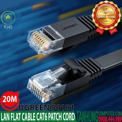 Dây nhảy,Patch Cord Ugreen 50181 Cat6 20M-Gigabit 26AWG Flat