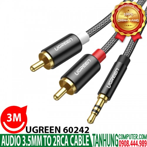 Cáp Audio 3,5mm ra 2 đầu RCA Ugreen...