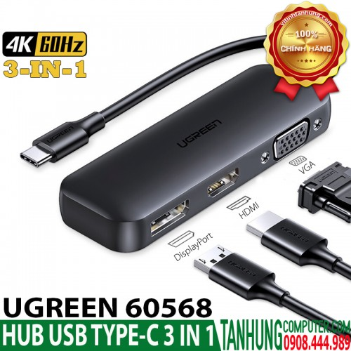 HUB USB-C 3 in 1 Ugreen 60568 DisplayPort 4K@60Hz, HDMI 4K@60Hz + VGA Dual