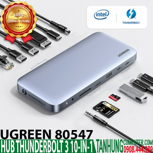 HUB Thunderbolt 3 (USB Type-C) Ugreen 80547 hỗ trợ DP 8K@60Hz (10-in-1)