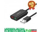 USB Sound Card UGREEN 30724 3.5mm Headphone và Microphone Jack (black)